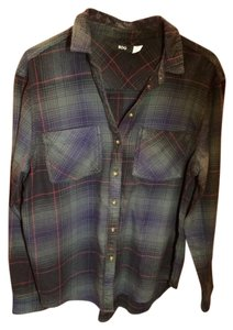 Urban Outfitters Button Down Shirt Green Plaid