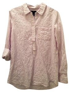 Gap Seersucker Striped Button Down Shirt Lavender, White