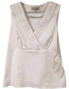 Talbots Embroidered Structured Sleveless Top White