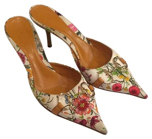 Gucci White with Multi Floral Pattern Mules
