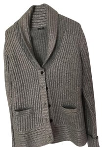 J.Crew Silver Chunky Cable Knit Wool Cardigan
