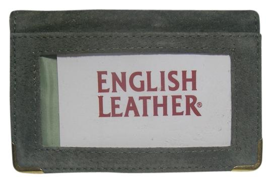 English Leather English Leather Green Suede Leather Zip-Around Photo ID Wallet
