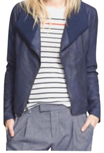 Vince Leather Lambskin Fitted Marine Blue Leather Jacket