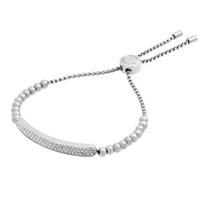 Michael Kors Michael Kors MKJ5593 Logo Plaque Silver Adjustable Beaded Bracelet