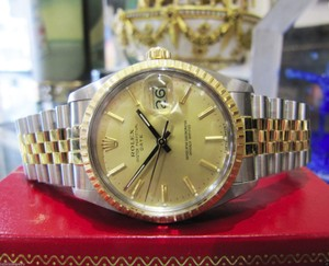 Rolex Mens Rolex Oyster Perpetual Date 34mm Stainless Steel 18k Yellow Gold Watch