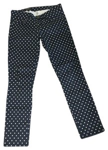 J.Crew Preppy Classic Dot Skinny Pants Navy with off-white polka dots