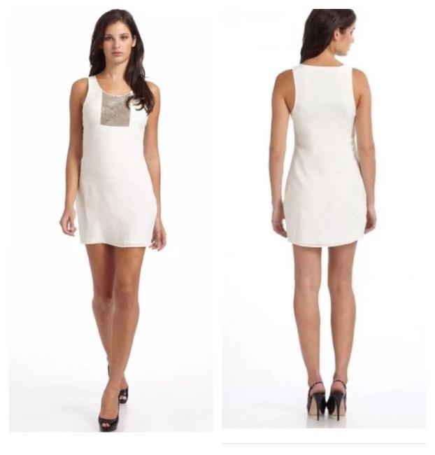 Item - White The Story Chains Silver Hardware Festive 100%silk Short Night Out Dress Size 12 (L)