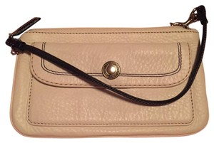 Coach Wristlet in White Leather With Black Accent