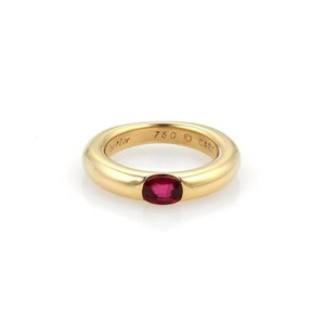 Cartier Cartier Ellipse Oval Ruby 18k Yellow Gold Band Ring Eu 49-us