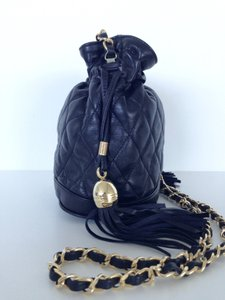 Neiman Marcus Quilted Leather Draw-string Classic Gold-tone Chain Vintage Shoulder Bag