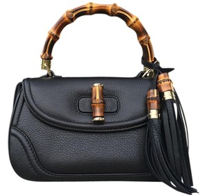 Gucci Leather Bamboo Satchel in Black