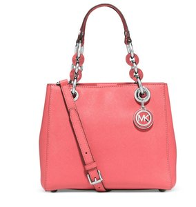 Michael Kors Cynthia Leather Satchel in Coral silver tone
