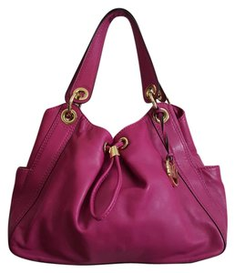 Michael Kors Leather Gold Hardware Satchel in Fuschia