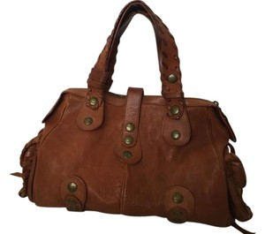 Chloé Leather Studded Satchel in Brown