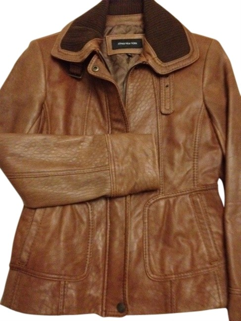 Preload https://img-static.tradesy.com/item/19782/jones-new-york-tandark-brown-trim-zealand-vintage-brown-leather-jacket-size-12-l-0-1-650-650.jpg