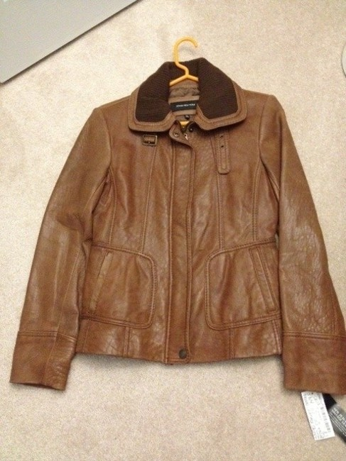 Jones New York Tan/Dark Brown trim Leather Jacket