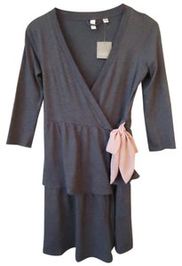 Anthropologie short dress Gray Wrap Tie Waist Ruffle Eloise on Tradesy