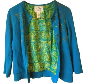 Anthropologie Blue Lined Embellished Tabitha Cardigan