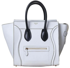 Céline Smooth Leather Mini Luggage Satchel in White