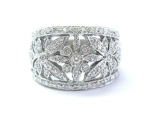 Fine Cluster Diamond White Gold Wide Flower Ring .50ct Sz 8.5