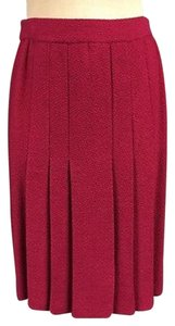 St. John John Collection Elastic Pleated Skirt Fuchsia