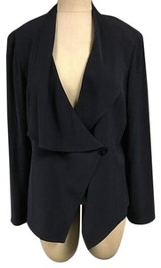 St. John St. John Navy Blue Asymmetrical Collared Single Button Blazer 702a
