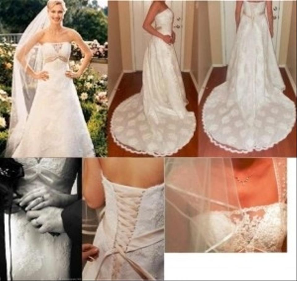 fb2cb715c3 David s Bridal Ivory Swiss Dot Lace T9211 Tulle A-line with Chapel Train  Satin Empire ...