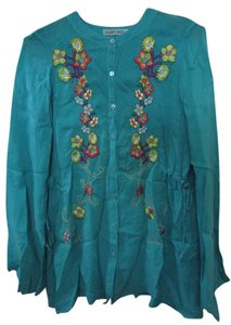 Johnny Was Embroidered Tunic Top Multi