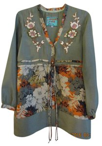 Johnny Was Embriodered Romantic Vintage Inspired Boho Silk Top Green Multi