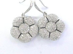 Fine Diamond Pave Flower Shape White Gold Drop Earrings 14kt 2.00ct 1