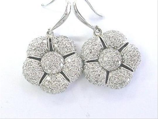 Other Fine Diamond Pave Flower Shape White Gold Drop Earrings 14kt 2.00ct 1