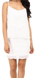 Laundry by Shelli Segal Beaded Chiffon White Cocktail Dress