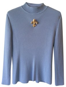 St. John Long Sleeve Knit Mock Turtleneck Cornflower Blue Sweater