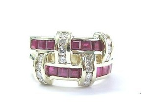 Fine Gem Ruby Diamond Yellow Gold Wide Jewelry Band Ring 14kt 1.84ct
