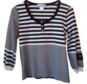 Sonia Rykiel Black Cream Stripe Pullover Sweater