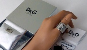 Dolce&Gabbana D & G Stainless Steel Silver Ring With Crystal Logo New in Box