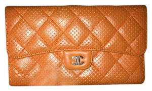 Chanel Chanel punching matelasse long tri-fold wallet A31506 Orange CC mark
