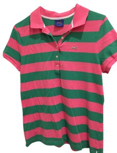 Le Tigre T Shirt Green/pink stripe