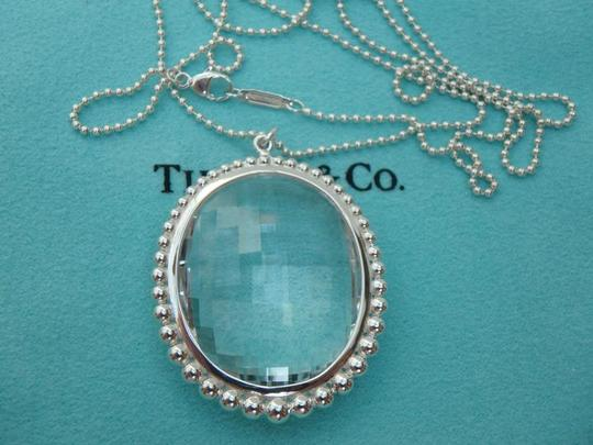 Tiffany & Co. rock crystal oval pendant necklace silver bead chain 28