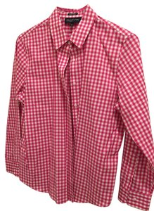Jones New York Button Down Shirt Pink Gingham