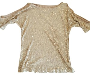 INC International Concepts Sequin Top Gold Sequin
