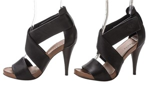 Theory Strappy Leather Platform Sexy Black Sandals