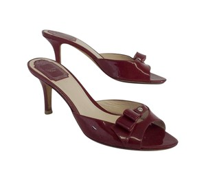 Dior Maroon Leather Slip On Low Heels Heels Sandals