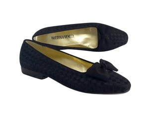 Bottega Veneta Black Satin Woven Flats