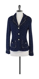 St. John Navy Black & White Speckled Blazer