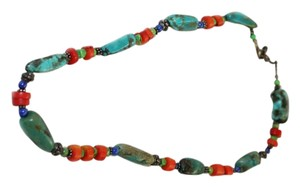 Turquoise, Coral and Sterling Silver Statement Necklace