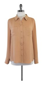 J.Crew Tan Silk Button Up Top
