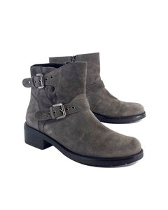 Aquatalia by Marvin K. Grey Suede Sterling Motorcycle Boots