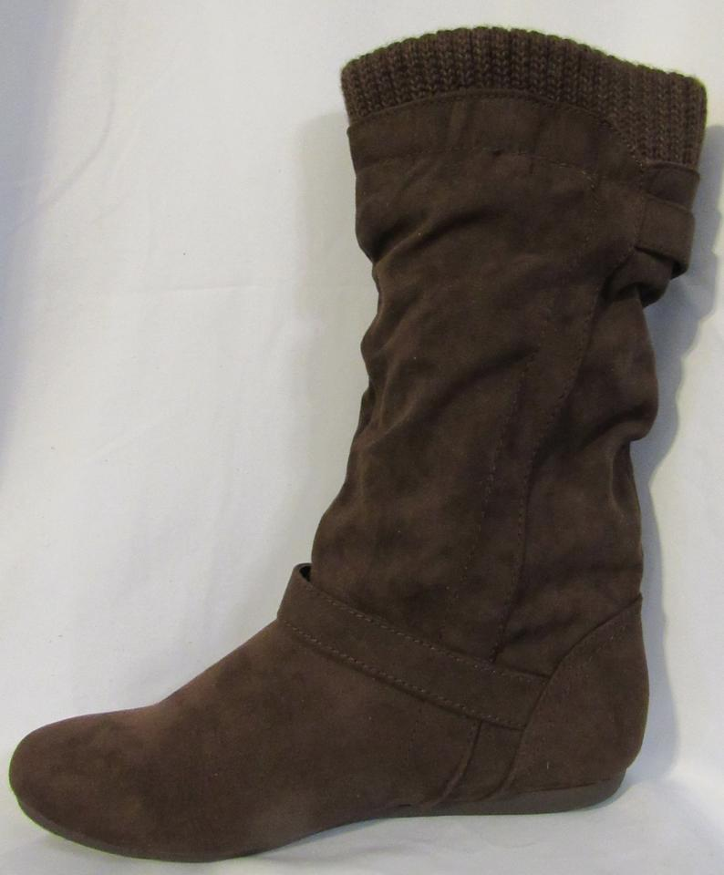 Report Brown With Straps Buckles And Sweater Knit Top Bootsbooties