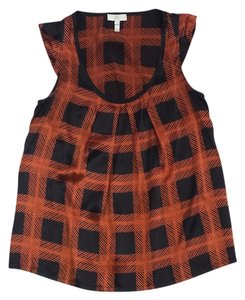 Joie Black Burnt Orange Plaid Silk Top